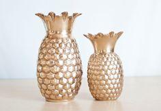 Vintage Mid Century Brass Pineapple Vase Mad Men by TheWildWorld