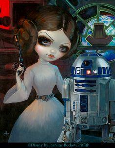 Princess Leia & R2-D2 by Jasmine Becket-Griffith Disney WonderGround Gallery Star Wars art big eye lowbrow pop surrealism Disney art Alderaan Leia art
