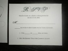 """""""__Seats Have Been Reserved In Your Honor"""" Bride/Groom fills it in, to avoid additional """"plus"""" ones, twos, and threes! Helps keep the numbers accurate!"""