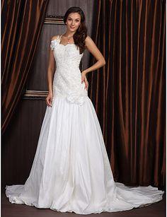 A-line One Shoulder Court Train Taffeta Wedding Dress