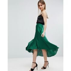 ASOS Midi Skirt in Satin with Splices (€45) ❤ liked on Polyvore featuring skirts, green, asos skirts, high-waist skirt, asos, green skirt and high rise skirt