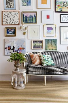 striped sofa and gallery wall