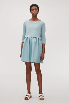 COS image 6 of Dress with layered skirt in Aqua