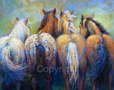 """Horse fine art, Horse decor, Horse art print """"Tails To Tell"""" Giclee Reproduction in a limited numbered series Artist: Janet Ferraro Horses hanging out together sharing their equine stories.I wonder…MoreMore Click Visit link for more info Caballos Appaloosa, Appaloosa Horses, Horse Drawings, Animal Drawings, Canvas Art, Canvas Prints, Large Canvas, Original Paintings, Original Art"""