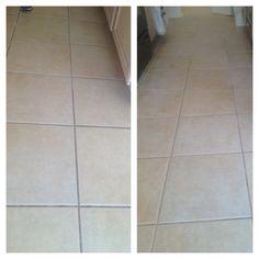 DIY tile grout cleaner: 3 parts baking soda, 1 part hydrogen peroxide. It works!!