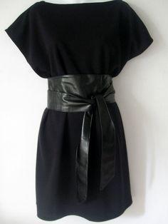 Kimono black dress with black obi belt by kimonoropa on Etsy, $50.00