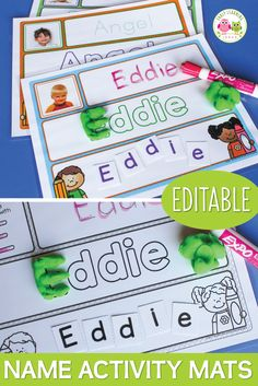 Use practice activity mats to teach your kids to recognize their names, spell their names, and write their names in a fun, interactive, multi-sensory way.  The activity mats are editable.  You can easily add the names of your class to all of the mats in just minutes.  You can use with the printable letter squares or you can use with magnetic letters, letter beads, letter rocks, etc.