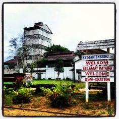 De restanten van de oude suikerfabriek Marienburg in district Commewijne, Suriname