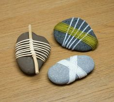DIY Decorative Wrapped Stones | Japanese-Inspired Crafts : 12 Steps (with Pictures) - Instructables Art Therapy Projects, Art Projects, Beach Stones, Land Art, Easy Gifts, Craft Activities, Collage Art, Painted Rocks, Weaving