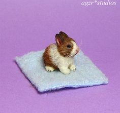 OOAK 1:12 Dollhouse Miniature Rabbit Bunny Baby Pet Furred Handmade Realistic