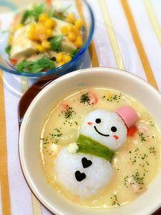 雪だるまシチュー、豆腐と水菜のサラダ by うっちー at 2013-02-25