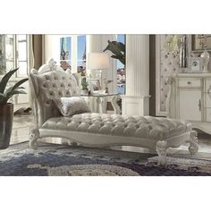 Versailles Chaise w/ 1 Pillow in Vintage PU & Bone White - Acme Furniture 96542 Lounges moderno Acme Furniture, Furniture Outlet, Living Room Furniture, Cheap Furniture, Furniture Movers, Furniture Logo, Italian Furniture, Furniture Online, Furniture Stores