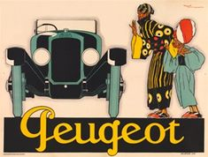 Peugeot car poster by Rene Vincent - Beautiful Vintage Poster Reproductions. French horizontal transportation poster features two people looking at a green car Peugeot. Vintage Ads, Vintage Posters, Psa Peugeot Citroen, Inspiration Art, Ad Car, Car Illustration, Classic Motors, Beautiful Posters, Car Posters
