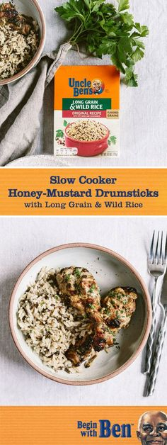 Dinner is served! And tonight it's this recipe for Slow Cooker Honey-Mustard Drumsticks. Served on a bed of Uncle Ben's® Long Grain & Wild Original Recipe, this chicken main entree is full of the savory flavor your family loves—and the easy kitchen prep you're looking for. Simply grab these essential ingredients at Kroger and whip up this delicious dish for your table.