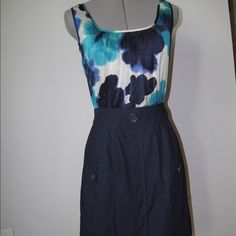 """Anthropologie silk and cotton blue dress Excellent used condition dress by tabitha. Tabitha tucks a flower-saturated, hammered silk blouse into patch-pocketed poplin, creating an elegantly easy ensemble.   Front patch pockets  Side zip  Silk, cotton; acetate lining  Dry clean  37""""L Anthropologie Dresses"""