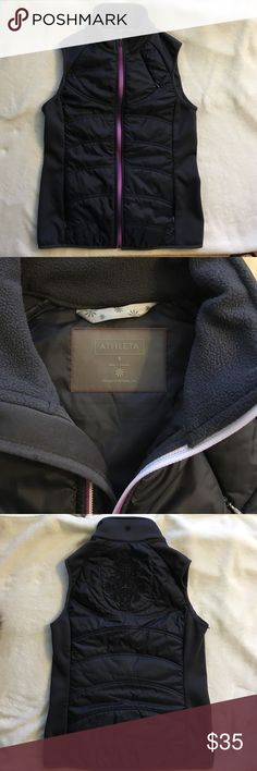 Athleta vest Athleta dark gray vest with a beautiful embroidered design on the  upper back. Stretchy side panels. Small zippered pocket on upper left front panel and two zippered hand pockets. . Purple/pink full zipper. Size small. EUC. Athleta Jackets & Coats Vests