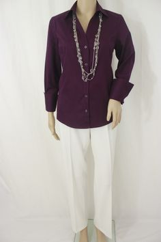 Ann Taylor Purple V-Neck Blouse Size 4 and East 5th Black, White, Brown, Gray Women's Pant Size 4