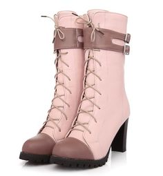 Lace Up. Buckles. Heels. Boots. Pink.