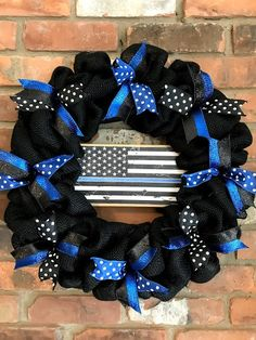 """Thin Blue Line Police 16 """"Burlap Wreath - Wreaths By Tracy - Burlap wreath, Blue Line Police, Thin Blue Line Flag, Thin Blue Lines, Police Officer Gifts, Police Wife, Homemade Wood Signs, Police Crafts, Army Wreath, Anchor Wreath"""