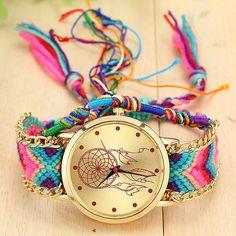 aa801be4b Vansvar Brand Handmade Braided Dreamcatcher Friendship Bracelet Watch  Ladies Rope Watch Quarzt Watches relogio feminino 1468