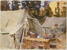 Trademark Fine Art 'Camp At Lake Ohara' Canvas Art by John Singer Sargent, Size: 24 x White Met Museum Of Art, John Singer Sargent Watercolors, Sargent Art, Thing 1, Paris, American Artists, Campers, Watercolor Art, Watercolor Landscape