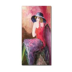 Woman with Blue Hat by Rosario Tapia Painting Print on Wrapped Canvas
