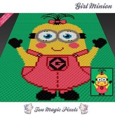 Girl Minion inspired crochet blanket pattern by TwoMagicPixels