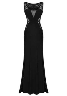 Black Plain Hollow Out Evening Prom Dresses For Women Formal Lace Spliced Mermaid V Neck Beaded Sleeveless Slim Sexy Party Maxi Dress Going Out Dress Lace Evening Dresses From Bestdavid, $120.61| Dhgate.Com