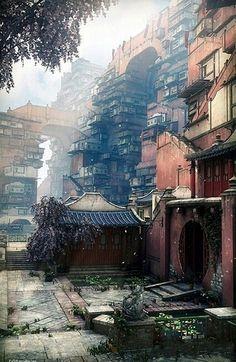 Futuristic city, residential area