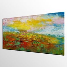 Large Wall Art Abstract Art Original Oil Painting by Topart007