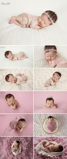 Simple pink and cream color palette for 11 day old Isla.  Sunny S-H Photography Winnipeg