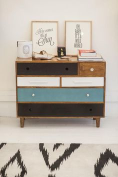 relooker des meubles, tiroirs peints