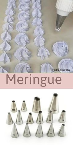 Use piping tips for beautiful meringues Cake Decorating Frosting, Cake Decorating Designs, Creative Cake Decorating, Cake Decorating Videos, Cake Decorating Techniques, Cake Designs, Cookie Decorating, Cake Piping Techniques, Frosting Tips