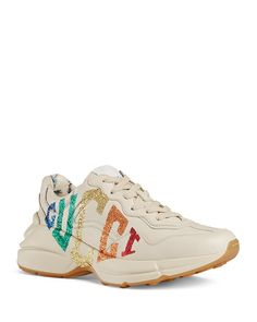 Leather Trainers, Leather Sneakers, Rainbow Logo, Sneaker Release, Chunky Heels, Neiman Marcus, Luxury Fashion, Gucci, Lace Up
