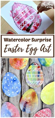 There are two watercolor techniques that can be used to create watercolor surprise Easter Egg art for kids using our FREE Easter Egg printable template. Invite children to paint Easter Egg art using a watercolor resist medium or the wet-on-wet watercolor Kids Crafts, Toddler Crafts, Preschool Crafts, Kindergarten Science, Kindergarten Reading, Art Crafts, Decor Crafts, Jewelry Crafts, Canvas Crafts