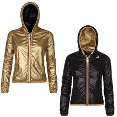Women - K-WAY Reversible black and gold packable jacket