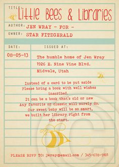 "Listing is for ONE 5"" x 7 BLANK PRINTABLE Library Card Invitation ..."