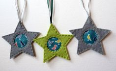 Bird Motif Hanging Star Decorations by FudgeandPoppy on Etsy, £5.00