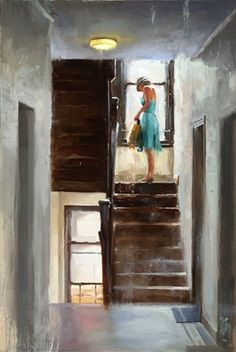 Joshua Flint. Urban scene. Woman on apartment stairs. Love her aqua dress