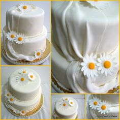 Veena's Art of Cakes: Gumpaste Daisies - Two Methods Daisy Wedding Cakes, 2 Tier Wedding Cakes, Wedding Dress Cake, Wedding Cake Decorations, Wedding Dresses, Single Tier Cake, Buy Cake, Gum Paste Flowers, Sugar Cake