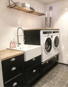 Laundry room from Ine. Interior inspiration, home reporting. Laundry Room Tile, Laundry Room Layouts, Laundry Room Organization, Laundry Room Design, Bad Room Design, Home Room Design, Garage To Living Space, Glass House Design, Compact Laundry