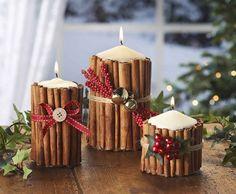 Weihnachtsdeko Idee mit Kerzen, Zimtstangen und Hagebutte