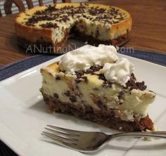 Chocolate Chip Cookie Dough Cheesecake. The crust is a chocolate chip cookie.