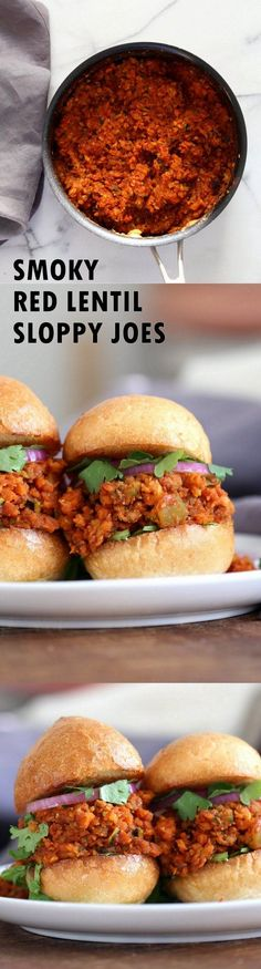 Smoky Vegan Sloppy Joes with Cajun Spices. Easy Red Lentil Carrot Zucchini Sloppy mix. Serve between soft buns, dinner rolls, pita pockets or tacos. Vegan Nut-free Recipe. Soy free option. Easily Gluten-free. | VeganRicha.com