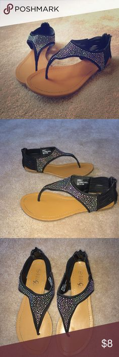 Rouge Helium Sandal Super sparkly black sandal. Worn as shown in the pictures, but still super cute to wear. Cleaning my closets out. Size: 7. Rouge Helium Shoes Sandals