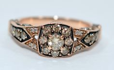 10% OFF SALE!! Fantastical Levian 1tcw Chocolate Diamond 14kt Strawberry Rose Gold Ring by rareestatefinds4u on Etsy