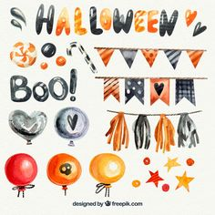 More than a million free vectors, PSD, photos and free icons. Exclusive freebies and all graphic resources that you need for your projects Halloween Painting, Halloween Drawings, Halloween Illustration, Cute Halloween, Halloween Pumpkins, Halloween Decorations, Colorful Drawings, Easy Drawings, Spider Drawing