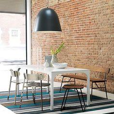 Mesa de comedor rectangular laqueada en blanco