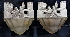 Attributed to Genet Michon stylish and very rare silvered Bronze Art Deco wall lights Art Deco Wall Lights, Art Deco Lamps, Ceiling Lights, Art Deco Home, Eclectic Style, Art Boards, Bronze, Stylish, Room