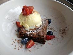 This moist bacon brownie is complemented by a honey bourbon ice cream. It's a decadent dessert I was happy to hog for myself. Bacon Brownies, Serious Eats, Sugar Rush, Sunday Brunch, Dessert Recipes, Desserts, Lunches And Dinners, Places To Eat, Sweet Tooth